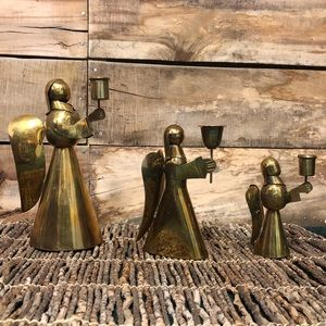Vintage brass Angel candle holders set of three